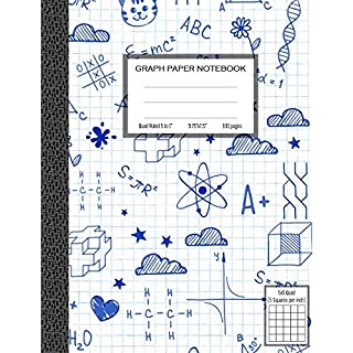Graph Paper Notebook, Quad Ruled 5 squares per inch: Math and Science Composition Notebook for Students