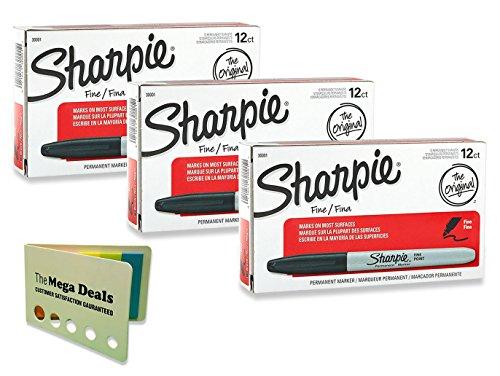 Sharpie Permanent Markers Fine Point Black - 36 Pieces, Includes 5 Color Flag Set