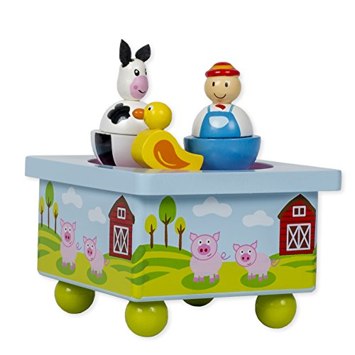 Musicbox Kingdom Wooden Music Box with Cow and Farmer Dancing to The Melody Old Macdonald had a Farm (Farmer Wooden Box Old)