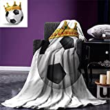 smallbeefly King Digital Printing Blanket Football Soccer Championship Inspired Ball Crown with Ornaments Image Print Summer Quilt Comforter