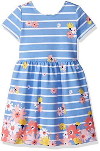 Gymboree Baby Toddler Girls' Stripe Floral Dress, Faberge Blue, 3T (Toddler Girl Dress Blue)
