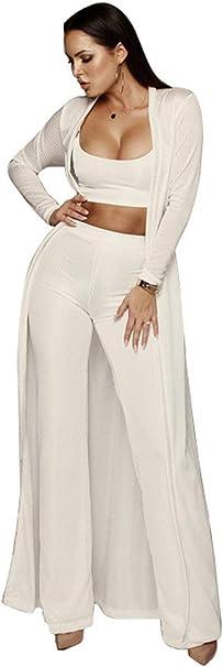 Mujer Juego De Pantalon Crop 3 Top Piezas Cardigan Mode De Marca ...