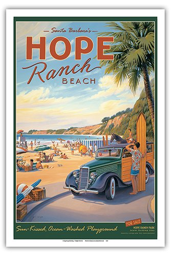 (Pacifica Island Art Santa Barbara's Hope Ranch Beach - Sun-Kissed, Ocean-Washed Playground - Vintage Style World Travel Poster by Kerne Erickson - Master Art Print - 12 x)