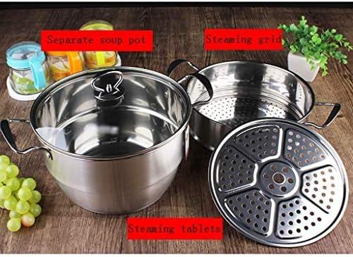 304 pot en acier inoxydable, avec couvercle faitout, risotto, de la bouillie, le couvercle en verre transparent, à couches multiples, de grande capacité, vapeur binaural