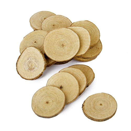 Jili Online 60 Pieces Natural Vintage Wood Wood Tree Pieces for Wedding Decoration Coasters 5-6cm by Jili Online (Image #5)