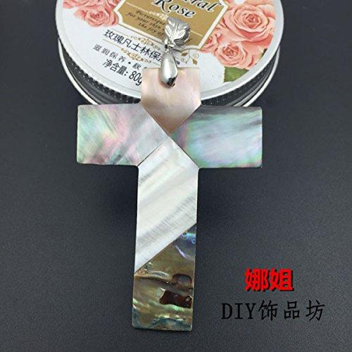 usongs cross necklace pendant black babe shell mosaic Shepherd DIY metal jewelry accessories 48 -
