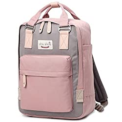 Water-resistant School Backpack Girls Women Travel Bag fits 14inch Laptop for Student (Pink01)