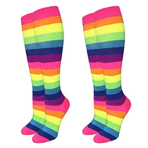 Women's Neon Rainbow Knee High Socks - 2 Pairs -