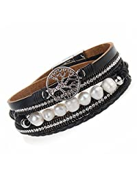COOLLA Jewelry Tree of life Pearl Women Bracelet Wrap Cuff Bangle with Magnetic Clasp