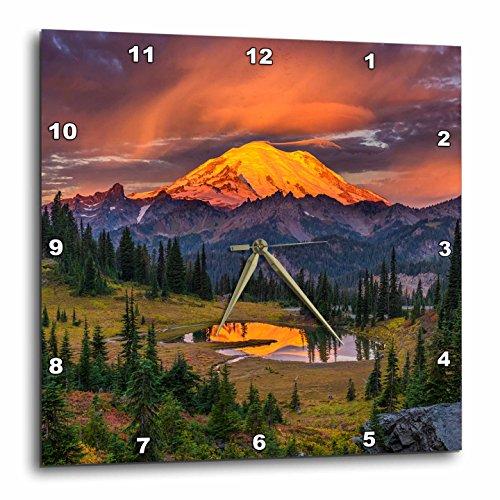 Washington State Desk Clock - 3dRose Danita Delimont - Sunrises - USA, Washington State, Mt. Rainier National Park at sunrise. - 13x13 Wall Clock (dpp_279631_2)