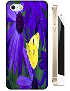 Yellow Butterfly Purple Flowers shell cases cover For Apple Accessory iPhone 5C