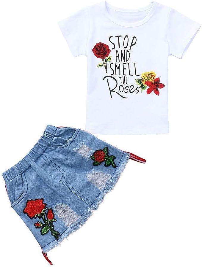 FCQNY Conjuntos de Ropa de Dos Piezas Camiseta para niñas pequeñas ...
