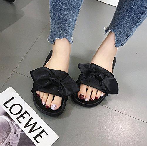 Spesso alla Pantofole Piatto Donna Spiaggia Estivo Fondo Abbigliamento Fondo Vento Arco Rosa Corte da Moda 7xBqIvBU4