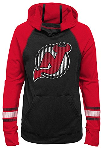 Outerstuff NHL New Jersey Devils Youth Girls Female Forward Funnel Neck Hoodie, X-Large(16), Black