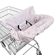 WATERPROOF 2-in-1 Shopping Cart Cover & High Chair Cover for Baby & Toddler with Safety Harness (Calm Pink)