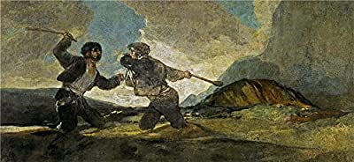 The High Quality Polyster Canvas Of Oil Painting 'Goya Y Lucientes Francisco De Duel With Cudgels 1821 23 ' ,size: 8 X 17 Inch / 20 X 44 Cm ,this Imitations Art DecorativePrints On Canvas Is Fit For Wall Art Decor And Home Gallery Art And Gifts