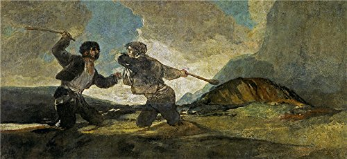 Cherry Pencil Post Bed (Oil Painting 'Goya Y Lucientes Francisco De Duel With Cudgels 1821 23', 16 x 35 inch / 41 x 88 cm , on High Definition HD canvas prints is for Gifts And Basement, Hallway And Home Theater Decoration)
