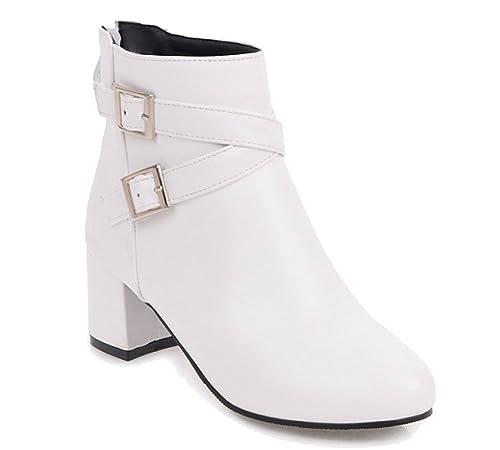 HiTime Botines Chelsea de Piel Mujer, Color Blanco, Talla 35.5: Amazon.es: Zapatos y complementos