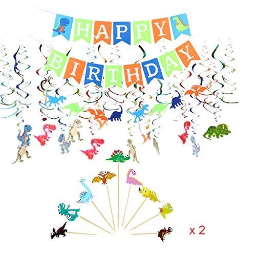 Dinosaur Birthday Party Decorations Supplies Happy Birthday Banner Dinosaur Party Garland Hanging Swirl Cupcake Toppers Great for Baby Shower, Boy's Birthday Decor, Dino Birthday Dino Dig Party ()
