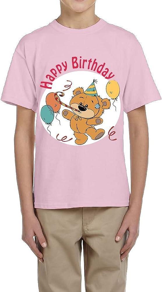 Fzjy Wnx Bear /& Happy Birthday Youth Crew-Neck Short Sleeve of T-Shirts for Boys