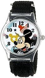 Disney Kids' W001209 Tween Mickey Mouse Plastic Watch, Black Nylon Strap, Analog Display, Analog Quartz, Black Watch