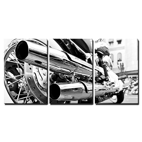 "wall26 - 3 Piece Canvas Wall Art - Motorcycle/Motor Bike in Black and White Vintage/Retro Style - Modern Home Decor Stretched and Framed Ready to Hang - 16""x24""x3 Panels"