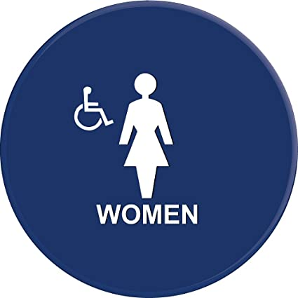 lynch signs 12 in sign blue circle with women symbol and accessible