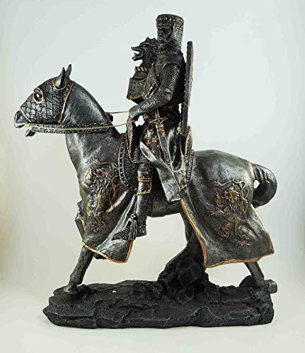Figurine Medieval Knight Crusader On War Horse Large Elite Cavalry 13