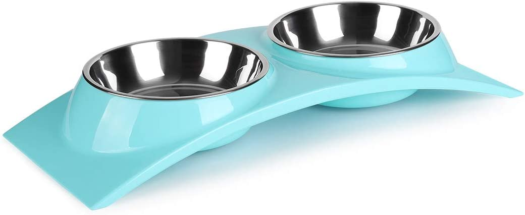 nonbrand Paragon Double Small Dog Bowls Premium Stainless Steel Food and Water Bowls for Cats, Dual Use pet Feeder with Stand Free The Neck for Small Dogs & Cats