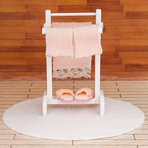 Odoria 1:12 Miniature Bath Accessory Rug and Stand with Towel Slippers Dollhouse Bathroom Accessories