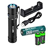 EdisonBright Olight S2 950 Lumen CREE LED Flashlight with olight 18650 rechargeable 18650 lithium-ion battery, charger and two CR123A Lithium Batteries bundle