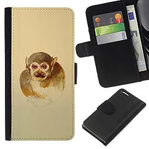 KLONGSHOP // Tirón de la caja Cartera de cuero con ranuras para tarjetas - Hombre mono - Apple Iphone 5C //