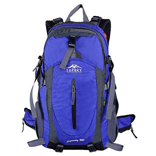 Topsky Outdoor Sport Wandern Klettern Camping Radfahren Rucksack Daypacks Wasserdicht Bergsteigen Laptop-Tasche Unisex 40L 50L Trekking Travel Rucksack mit Regen Cover Blau blau