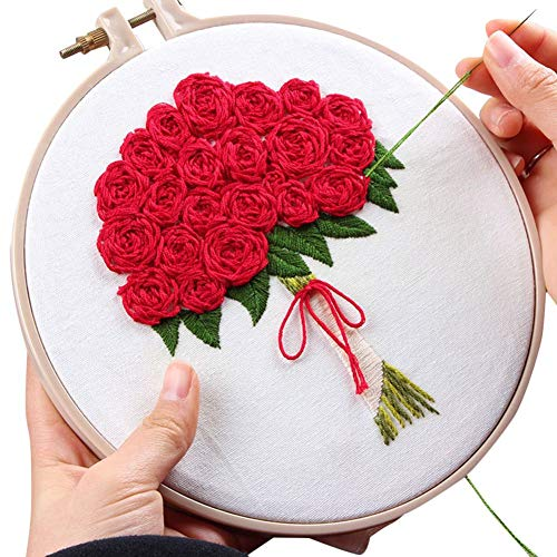 - ESHOO Cross Stitch Stamped Embroidery Kit - DIY Beginner Counted Starter Cross Stitch Kit for Art Craft Handy Sewing Tools Kit