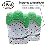 Baby Teething Mittens Soothing Pain Relief Teether with Non-Scratch Button Fastener / Travel Bag 3-12 months Babies Shower Gifts Mitt Silicone Toys by MaBaby (Mint Green)