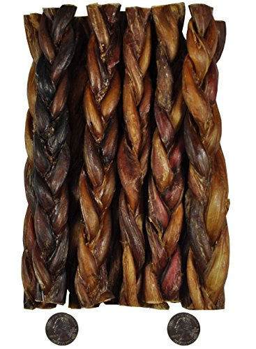 "9"" Braided BULLY Stick - 100% Natural (10 Pack), By Downtown Pet Supply"