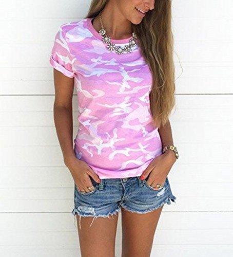 Corta Moda T Maglietta shirts Tops Girocollo Manica Rosa Casual Monika Camicetta Bluse Camicie Lunghe Estivo Mimetico Donna x4qYnIP