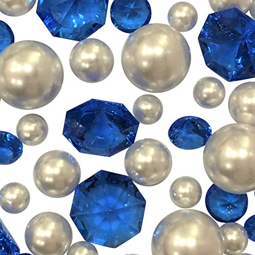 (120 NO Hole Floating Royal Blue Gems & White Pearls- Jumbo/Assorted Sizes Vase Decorations and Table Scatter + Includes Transparent Water Gels for Floating The Pearls)