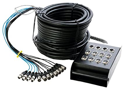 In Line Audio 12 Channel Audio Snake 50 Feet Black