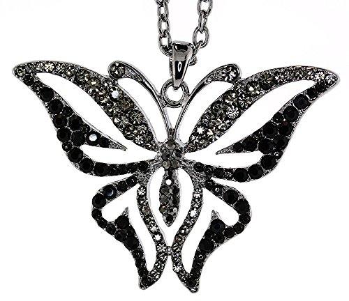 (Mevoi Vintage Style Austrian Crystal Butterfly Chain Necklace - Black Hematite )