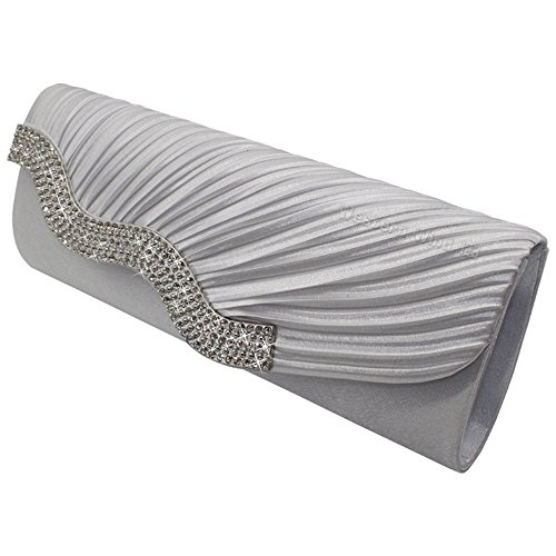 Wocharm Ladies Satin Wavy Crystal Decoration Evening Clutch Bag Wedding Bridal Prom Evening Envelope Handbag Womens Coin Purse Wallet White