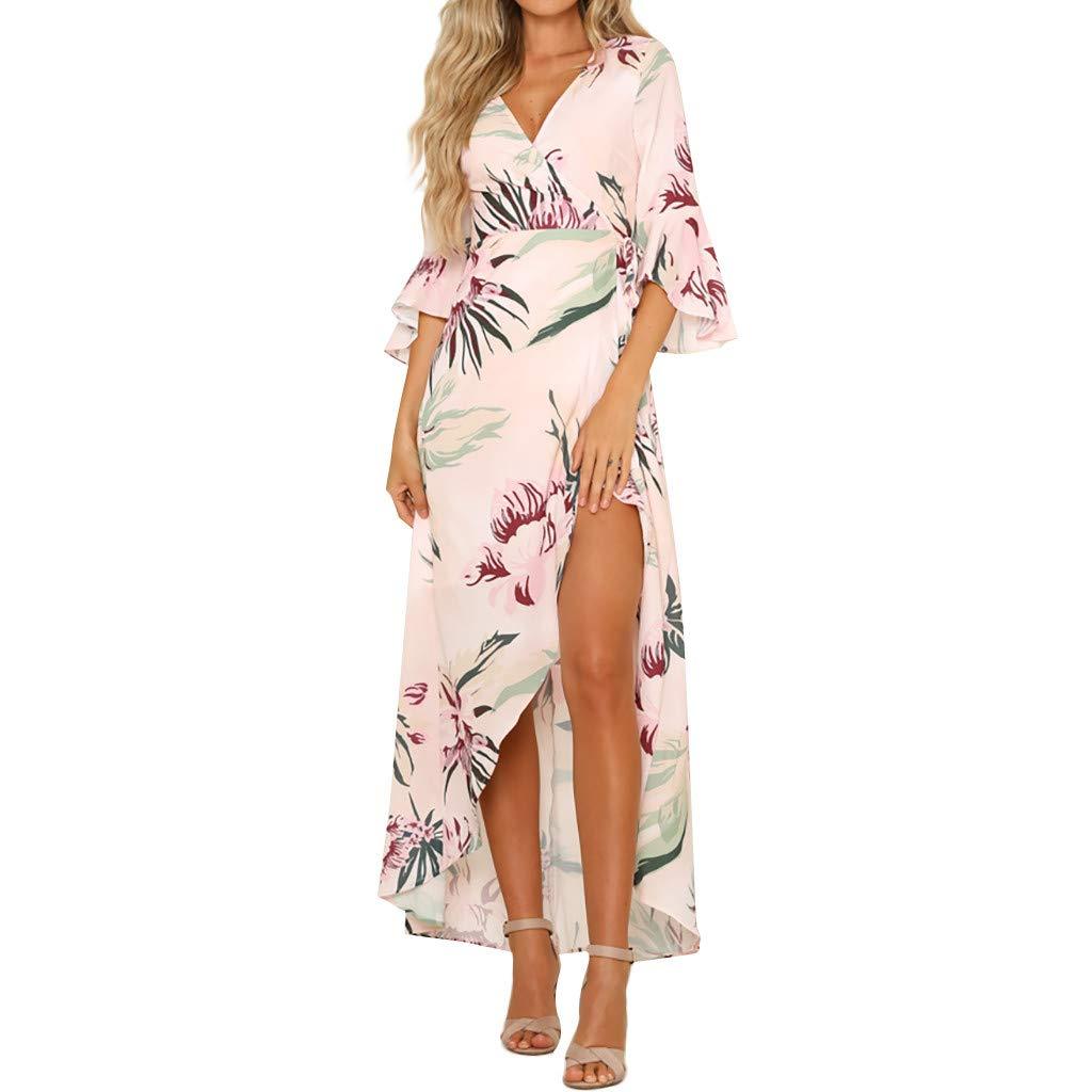 Libermall Women's Dresses Floral Print V Neck Ruffle Half Sleeve Beach Sundress Evening Party Split Long Dress Pink