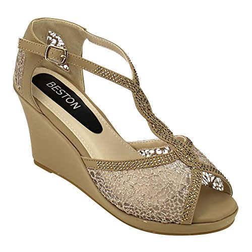 Toe BESTON Top Beige Sandals 8 Criss Wedge Moda Heel Platform Lord Cross Peep Womens AzAxRwdqr