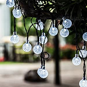 Solar String Lights, 20ft 30 LED Globe Outdoor Fairy Bubble Crystal Ball Holiday Party Decorations Lights Cool White