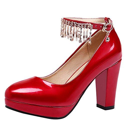 MissSaSa Damen high heel Lackleder Riemchen-Pumps Rot