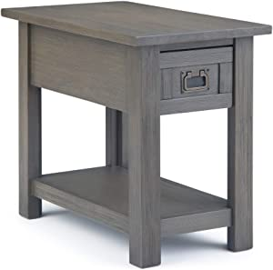SIMPLIHOME Monroe Solid Acacia Wood 14 inch wide Rectangle Rustic Contemporary Contemporary Narrow Side Table in Farmhouse Grey with Storage, 1 Drawer and 1 Shelf, for the Living Room and Bedroom