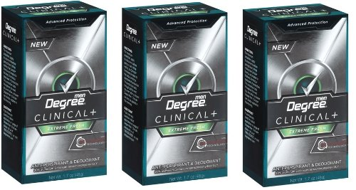 Degree Clinical Plus AntiPerspirant Deodorant with Re-Charge Technology, Extreme Fresh, 1.7 Ounce (Pack of 3)