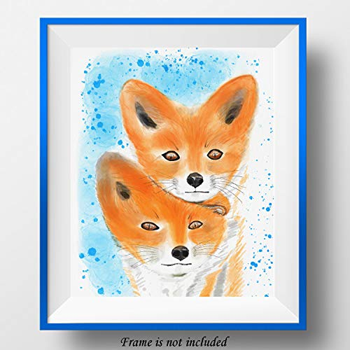 7Dots Art. Two red Fox Cubs. Watercolor Art Print, Poster 8