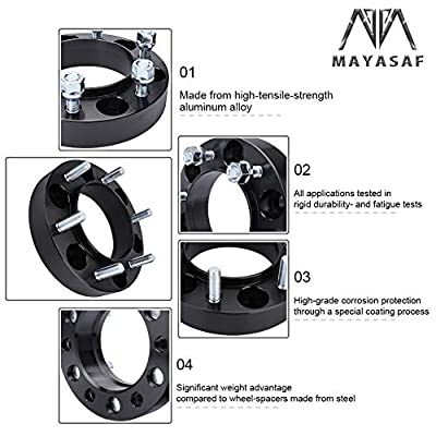 MAYASAF Wheel Spacers Hubcentric Adaptors for 2001-17 Toyota Tacoma/00-06 Tundra/96-17 4-Runner/07-14 FJ Cruiser/01-07 Sequoia, 6x5.5 Bolt Pattern 106mm Hub Bore [6 Lugs, 1.25 in, 4 Pack]: Automotive