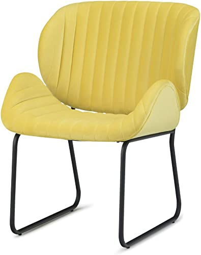 Simpli Home AXCCHR-25-Y Rivley 24 inch Wide Mid Century Modern Accent Chair in Daffodil Yellow Velvet
